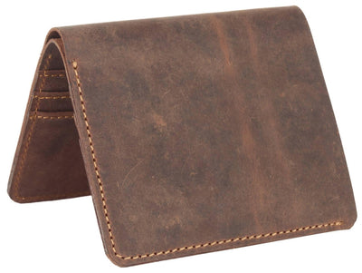 Men Brown Original Leather RFID Wallet 6 Card Slot 1 Note Compartment - MANERAA