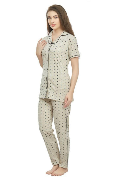 Cotton Front open nightwear set for women - Women's Cotton nightsuit with Front open shirt - MANERAA