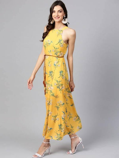Women's Yellow Floral Strappy Incut Maxi Dress With Belt - MANERAA
