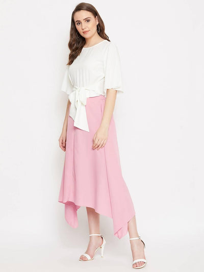 Women's Solid Knot Top With Asymmetry Skirt Set - MANERAA