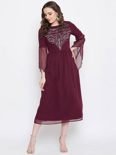 Bitterlime Women Burgundy Embellished Fit and Flare Dress - MANERAA