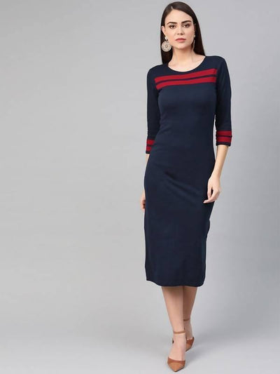 Women's Solid Color-Block Dress - MANERAA