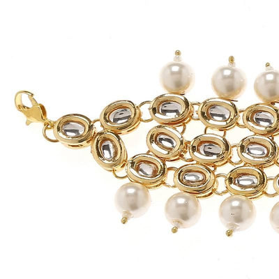 Kundan Bracelet Artificial Fashion Jewellery For Women Gold Color - MANERAA