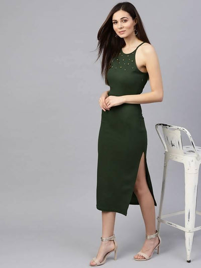 Women's Bodycon Pearl Studded Raglan Dress - MANERAA