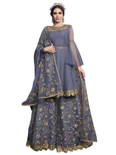 Stylee Lifestyle Grey Net Embroidered Dress Material - MANERAA