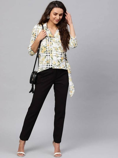 Women's Floral Overlap Collar Top - MANERAA