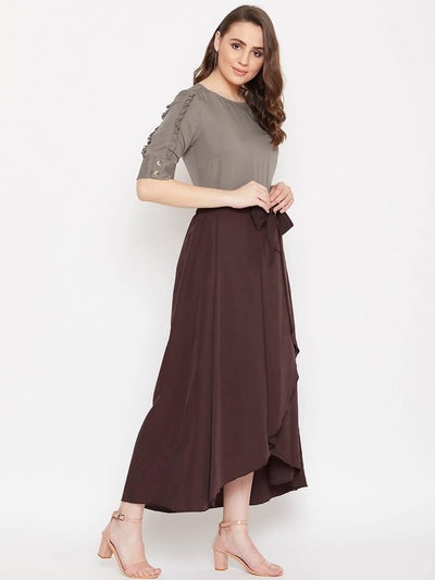 Women's Frill Sleeve Solid Top With Asymmetry Skirt Set - MANERAA