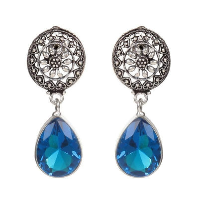 Alloy And Artificial Stones Drop Earrings Artificial Fashion Jewellery For Women Blue Color - MANERAA