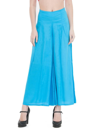 Women Solid Sky Blue Rayon Flared Palazzo - MANERAA