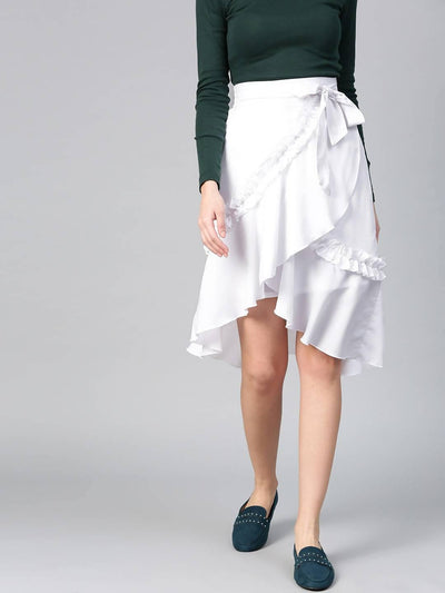 Bitterlime Women White Short Overlap Ruffle Skirt - MANERAA