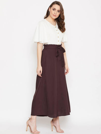 Women's V-neck Front Button Top With A-line Skirt Set - MANERAA