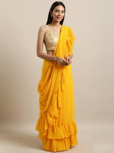 Yellow Solid Poly Georgette Saree - MANERAA