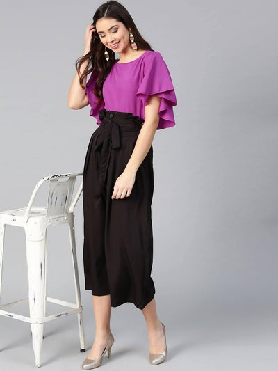 Bitterlime Women Purple Flared Ruffle Top & Trouser Set - MANERAA