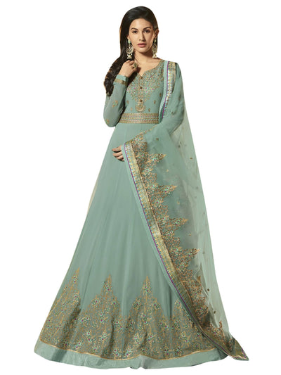 Stylee Lifestyle Green Georgette Embroidered Dress Material - MANERAA