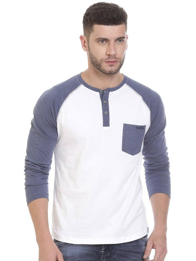White Colour Henley Half Slevee T-shirts - MANERAA