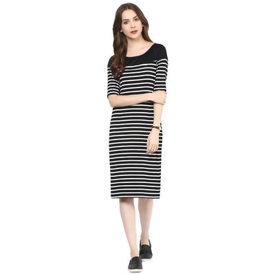 Women's Women's Stripe Yoke Midi Dress - MANERAA