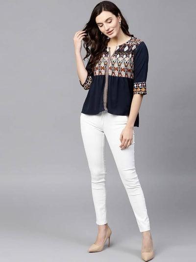 Women's Printed Yoke Top - MANERAA
