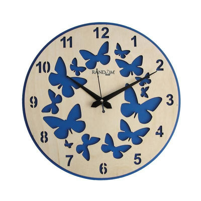 Blue Butterfly (11.5 Inches) Wooden Wall Clock - MANERAA