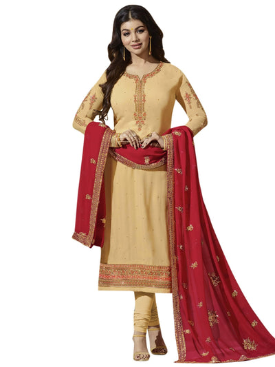Stylee Lifestyle Beige Georgette Embroidered Dress Material - MANERAA