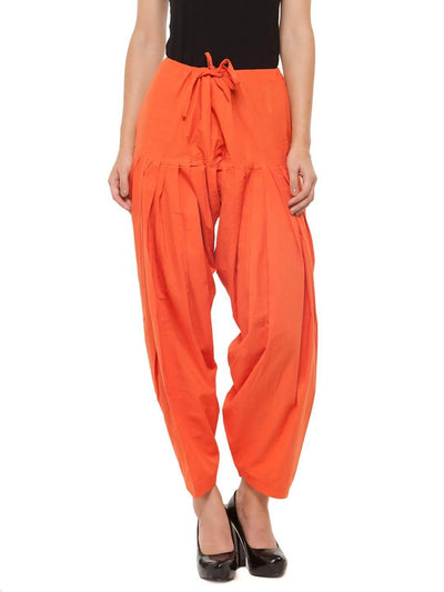 Orange Cotton Solid Patiala - MANERAA
