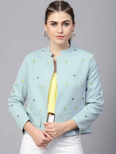 Women's Pastel Solid Fake Pocket Embroidered Blazer - MANERAA