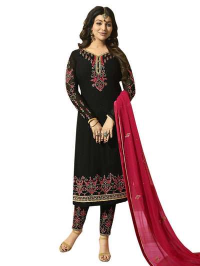 Stylee Lifestyle Black Georgette Embroidered Dress Material - MANERAA