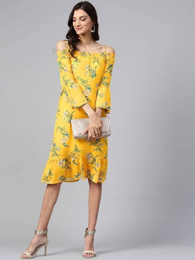 Women's Yellow Floral Off-Shoulder Bardot Dress - MANERAA