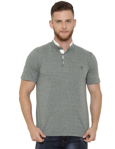 Green Colour Henley Half Slevee T-shirts - MANERAA