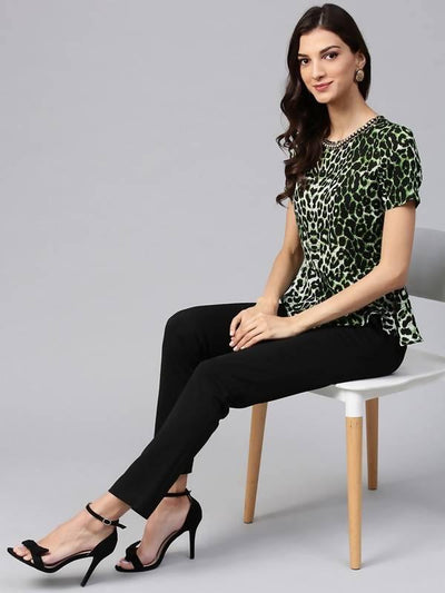 Women's Green Animal Print Embellished Peplum Top - MANERAA