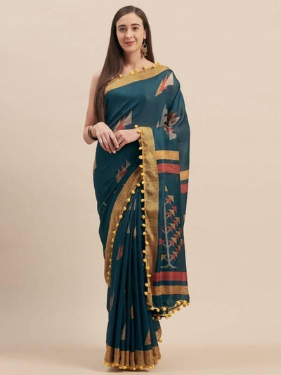 Teal Blue Jute Cotton Printed Saree With Pom Pom Lace - MANERAA