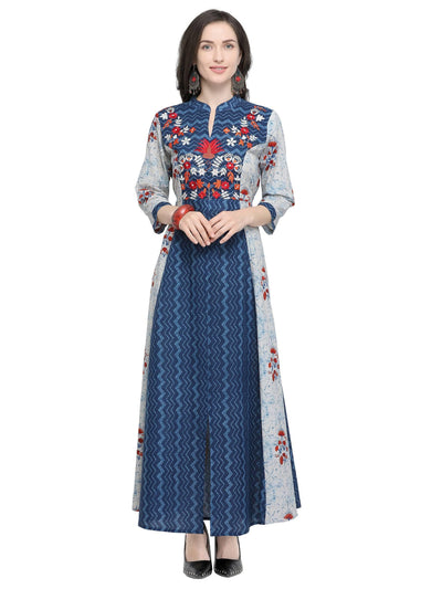 Blue Cotton Printed Kurti - MANERAA