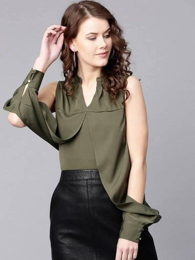 Women's Solid Designer Sleeves Top - MANERAA
