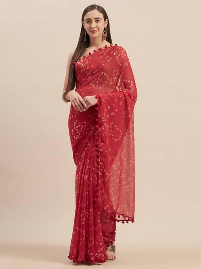 Red Poly Georgette Bandhani Design Saree With Pom Pom Lace - MANERAA