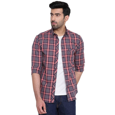 Men's Red Plaid Checkered Causal Shirt (Size:36) - MANERAA
