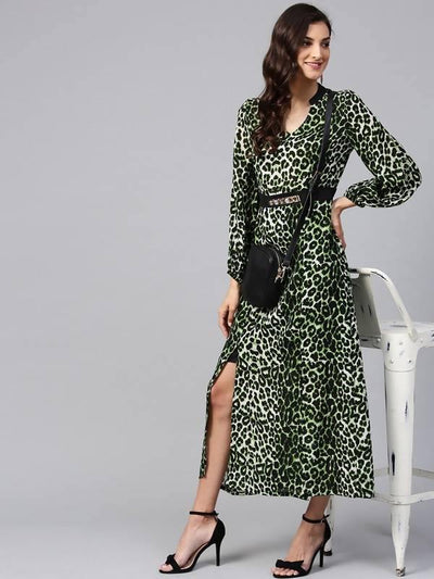 Women's Green Animal Print Maxi Dress With Embellished Belt - MANERAA