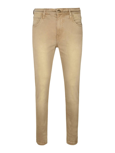 Khaki Colour Slim Fit Mid Rise Streatch Jeans - MANERAA