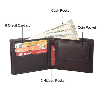 Men Brown Genuine Leather RFID Wallet 7 Card Slot 2 Note Compartment - MANERAA