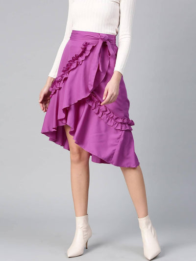 Bitterlime Women Purple Short Overlap Ruffle Skirt - MANERAA