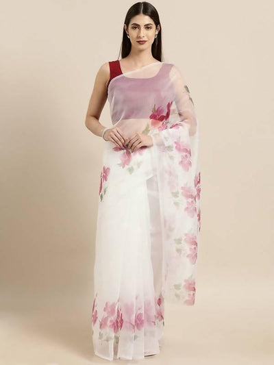 Off White & Pink Poly Georgette Bandhani Design Saree with printed lace - MANERAA