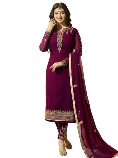 Stylee Lifestyle Wine Georgette Embroidered Dress Material - MANERAA