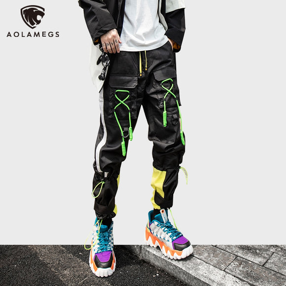 Aolamegs Color Block Multi-Drawstring Hip Hop Cargo Pants Men Elastic Waist Joggers Track Men's trousers Harajuku Streetwear Men