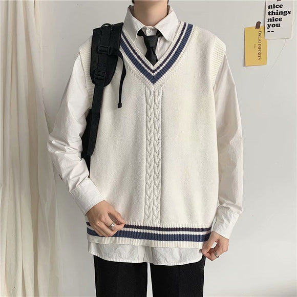 2020 Men's College Style Clothes Cashmere Sweaters Sleeveless Waistcoat White Color Vest Knitting V-neck Wool Pullover M-2XL
