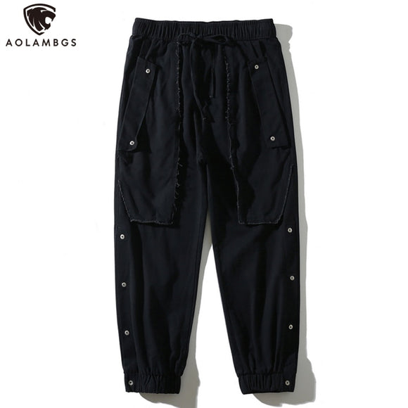 Aolamegs Multi-Pockets Rib Sleeve Cargo Pants Men Casual Elastic Waist Joggers Harem Sweatpants Harajuku High Street Trouser Men