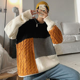 2020 Winter Men's Splicing Long Sleeve Cashmere Sweaters Clothes Coats Thick Fashion Loose Wool Pullover Homme Knitting M-2XL
