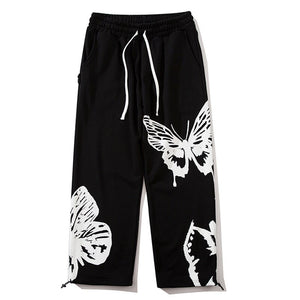 Aolamegs Sweatpant Men Butterfly Graphic Graffiti Joggers Trouser Elastic Waist Cotton Cozy High Street Straight Pant Streetwear
