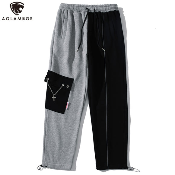 Aolamegs Patchwork Color High Street Chain Pockets Thick Sweatpants Men Cozy Casual Fashion Jogger Trousers Pants Men Streetwear