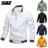 Saz 2020 New Mens Spring Autumn Jackets Casual Thin Male Windbreakers College Bomber Black Windcheater Hommes Varsity Jacket