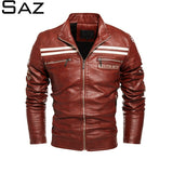 Saz New Men's Autumn And Winter Men High Quality Fashion Coat Leather Jacket Motorcycle Style Casual Jackets For Men Warm Overco