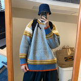 2020 Winter Men's Retro Plaid Cashmere Knitting Long Sleeve Wool Sweater Round Neck Loose Pullover Hip Hop Clothes Coats M-2XL