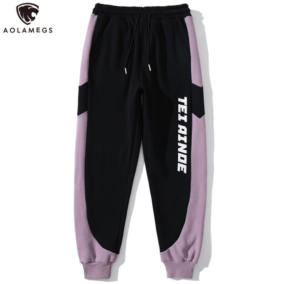 Aolamegs Thick Sweatpants Men Color Block Letter Print Jogger Trousers Winter Casual Loose Track Pants All-match Male Streetwear